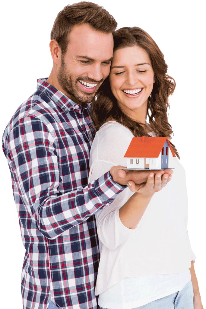 couple holding small house